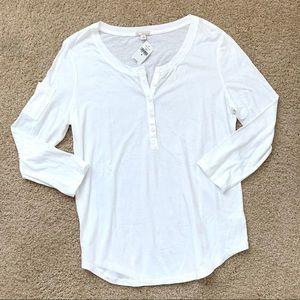 NWT GAP 3/4 Sleeve White Cotton Henley Top